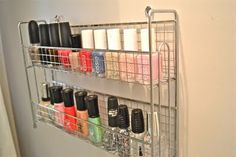 nail polish organization.  spice racks hung on wall in makeup nook?