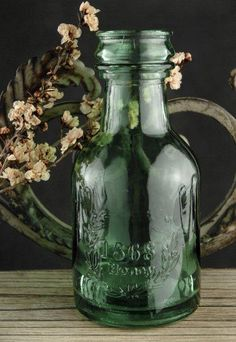 Green Glass Honey Bottles 6""