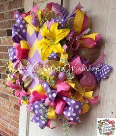 Easter wreathdeco mesh wreath Burlap by MrsChristmasWorkshop
