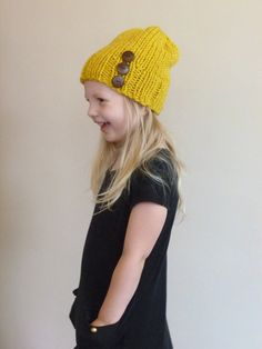 Toddler Slouch Hat in Mustard Yellow with Three Natural Coconut Buttons Kids Knit Hat Girls Boys Slouch Beanie by BoPeepsBonnets, $26.00 #toddlerhat #Kidswinterhat #knitbeanie #bopeepsbonnets