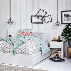 Storage Bed + Two Nightstands - White