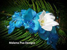 TURQUOISE TEAL BRIDAL Headpiece  Hawaiian Orchids by MalamaPua