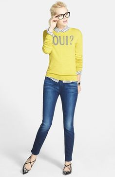 Halogen® Shirt, Sweater & Jen7 Stretch Skinny Jeans  available at #Nordstrom