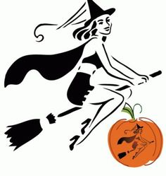 Cute Retro Sexy Witch Pumpkin Carving Pattern