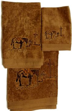 Gray Horses on Light Grey Towels Western Towel Set