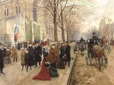 After the Service at Holy Trinity Church, Christmas, 1890. By Jean Beraud.