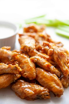These easy Baked Chicken Wings are amazingly crispy and crunchy. With a surprise ingredient that you probably have on hand and a simple technique, you can have Super Crispy Baked Chicken Wings with minimal effort. Easy Baked Chicken Wings, Oven Baked Chicken, Chicken Wing Recipes, Chicken Nuggets, Crispy Chicken, Garlic Chicken, Grilled Chicken, Appetizer Recipes, Appetizers