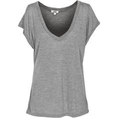 LNA CLOTHING Classic Cap Sleeve Deep V Heather Grey Modal cashmere... ($200) ❤ liked on Polyvore featuring tops, t-shirts, shirts, blusas, cap sleeve t shirt, low v neck t shirts, heather gray t shirt, layered t shirt and deep v neck tee