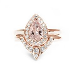 Pear Morganite Engagement Ring with Matching Side Diamond Band Set Rose Gold