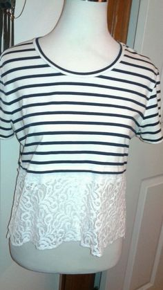 Hearts ♡ Rachel Roy Ladies Striped and Lace Knit top L Black/white w/White Lace  #RachelRoy #KnitTop #Casual