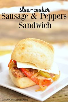 Freezer Cooking!  Slow-Cooker Sausage and Peppers Sandwich - perfect for gameday or a quick and easy lunch or dinner!