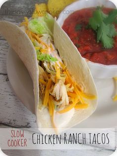 Super tasty chicken taco crock pot recipe that is sure to be a hit with your family.