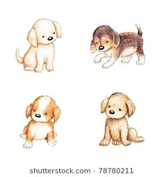 Collection Four Cute Puppies On White​: stockfoto (nu bewerken) 78780211 Printable Animals, Cute Art, Cute Puppies, Anna, Teddy Bear, Watercolor, Drawings, Image, Collection