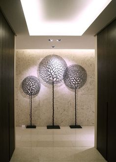 *Wall Sculptures (by Lee Jea-Hyo) Wall Art Designs, Wall Design, House Design, Lobby Design, Wall Treatments, Wall Sculptures, Wall Murals, Decoration, Architecture Design