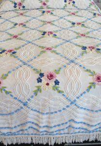Springtime sweet, vintage Cabin Craft chenille bedspread.