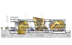 Center for archaeology, mainz überraum architects oficinas a Section Drawing Architecture, Architecture Concept Diagram, Architecture Sketchbook, Architecture Visualization, Coupes Architecture, Architecture Old, Education Architecture, Planer Layout, Architectural Section