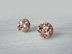 Rose Gold Faux Druzy Earrings, 8mm Faux Druzy, Glitter Studs, Stainless Steel / 1a by oneartsymomma on Etsy https://www.etsy.com/listing/228418715/rose-gold-faux-druzy-earrings-8mm-faux