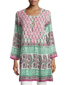 Printed Embroidered Long-Sleeve Tunic, Pink by Raj at Neiman Marcus Last Call.