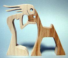 """sculpture bois chantourné """"une femme et son chien"""" : Sculptures, gravures, statues par 2virgule5d"""