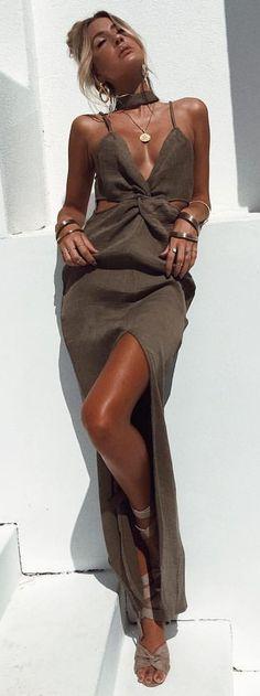 #summer #outfits Khaki Cut-out Maxi Dress
