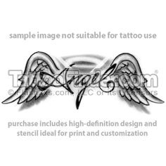 TattooFinder.com: Angel's Wings tattoo design by Jesse Lee Vaughn, wings, angel, text, word, black and gray, halo
