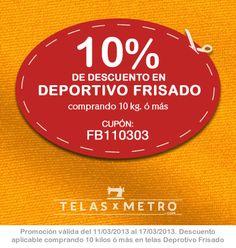 Promo de la Semana: 10% de Descuento en Telas Deportivo Frisado comprando 10 kg. o más. Podés ver todas las telas en: http://www.telasxmetro.com/confeccion/deportivo-frisado