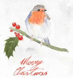 A few days ago I got terribly inspired by a video I saw on the Art Tutor Facebook page (this one: Make Your Own Watercolor Christmas Cards - 2014) and I decided to take on the challenge of painting robins myself! I used some reference photos I found on Pinterest (here: http://www.pinterest.com/ease