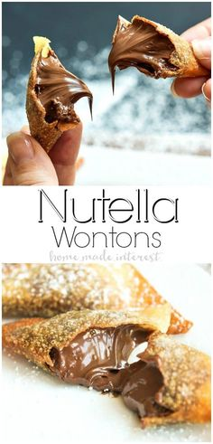 Nutella Wontons | This easy Nutella dessert recipe is a crispy fried wonton packed full of creamy, smooth Nutella. These Nutella Wontons are absolutely delicious and they make an amazing Valentine's Day dessert recipe. #nutella #dessert #dessertrecipe #valentinesday #valentinesdayrecipe