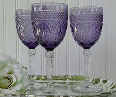 Antique Water Goblets | Vintage Cris D'Arques / Durand Antique- Amethyst Water Goblets ...