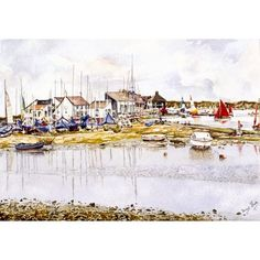 Mudeford Quay boat park by Jacqui Slade Seaside Theme, Boat Painting, Watercolor Paintings, Watercolour, Bournemouth, Fine Art Prints, Boats, Park, Artwork