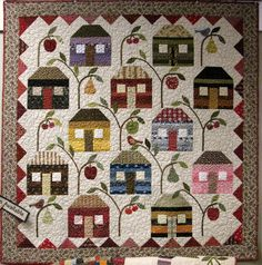 love the #fruit #trees interspersed among the houses on this #quilt