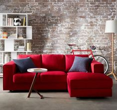 red couch living room photos how to arrange furniture in a large open knockout knockoffs pottery barn buchanan home hacks buy one get free on freedom sofas