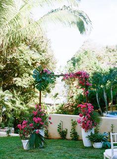 tropical leafs & bugambilia wedding arch, sayuilta wedding at villa amor!