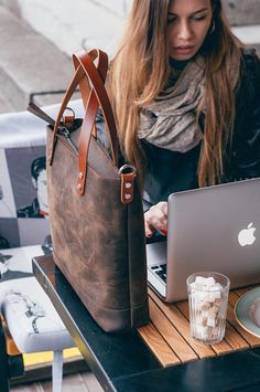 Leather Tote bag-Leather Bag-Leather tote bag woman with