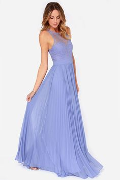 Bariano Lacie Periwinkle Lace Maxi Dress...wish this was less $$$! Such a pretty bridesmaid dress.