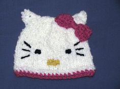 Knit Hello Kitty Hat by RiverCityKnits on Etsy