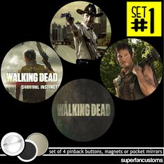 The Walking Dead Set Of 4 Buttons - Magnets - Mirrors Daryl Norman Reedus #1135