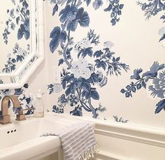 Schumacher Pyne Hollyhock Wallpaper in Indigo 5006922 - 2 Roll Minimum Wallpaper Accent Wall Bathroom, Bathroom Accents, Bathroom Colors, Bathroom Ideas, Bathroom Furniture, Small Bathroom, Blue Floral Wallpaper, Toile Wallpaper, Vintage Floral Wallpapers
