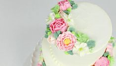 // Hands down, the prettiest wedding cake ever! Buttercream flowers make the perfect wedding cake. See us make roses, blossoms, and leaves using simple buttercream. It's amazing how a little … Birthday Cake Bakery, Pink Birthday Cakes, Homemade Birthday Cakes, Frosting Flowers, Buttercream Flower Cake, Pretty Wedding Cakes, Wedding Cakes With Flowers, Flower Cake Design, Pink Rose Cake