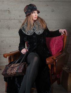 Grace Cloche Hat and Madrid Purse in Renaissance Oxblood & Collar in Silver Fox Black Faux Fur  #pandemoniumhats #pandemoniummillinery #Seattle #WA  #handmade #madeinUSA #shopping #style #beauty #fashion #accessories #fashion #fauxfur #collar #hat #purse #handbag