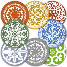 Vintage Ornaments including Tile and Stained Glass Patterns, 2-inch Circles, 6 designs in 6 colors, Digital Collage Sheet