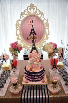 Such a pretty Paris birthday party! See more party planning ideas at CatchMyParty.com!