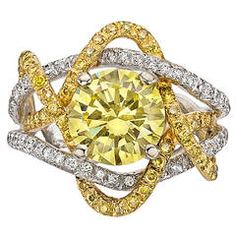 2.47 Carat Fancy Intense Yellow Diamond Ring