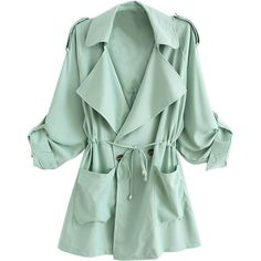 WithChic Light Green Lapel Waisted  Double Breasted Trench Coat (€29) ❤ liked on Polyvore featuring outerwear, coats, jackets, cardigans, coats & jackets, trench coat, lapel coat, green coat, double breasted trench coat and double breasted coat