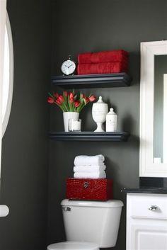 Badideen schwarz wandgestaltung kleines Bad rote motive