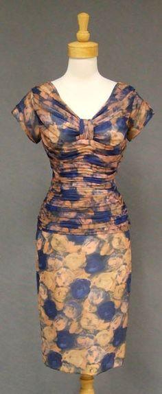 Gathered Chiffon 1960's Cocktail Dress