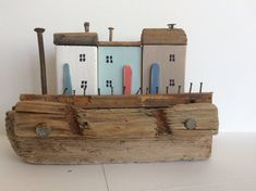 Driftwood Cottages, Driftwood Houses, Coastal Seaside Beach Ornament, Miniature Houses, Nautical, Shabby Chic Unique Gift Driftwood Sculpture, Driftwood Art, Cute Little Houses, Beach Ornaments, Seaside Beach, Nautique, Recycled Wood, Miniature Houses, Woody