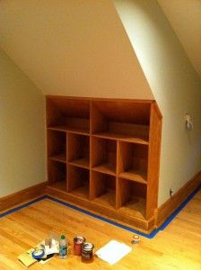 for under the stairs in the garage--great under-stair shelves--perfect for otherwise useless space Basement Renovations, Ideal Home, Shelves, Home Projects, Bedroom Diy, House Styles, Stair Shelves, Attic Design, Closet Under Stairs