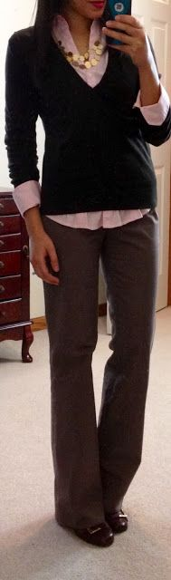 Express button-up (in light pink), Banana Republic sweater (in burnt brown),Banana Republic outlet Martin Wool Trousers (in dark khaki), Nine West Jobst pumps (in cognac), LOFT outlet necklace