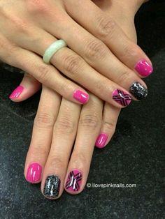 Pink n black nails
